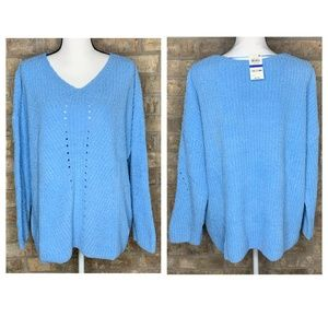 Style & Co Chenille V-Neck Sweater Blue- S1